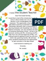 student teacher letter home