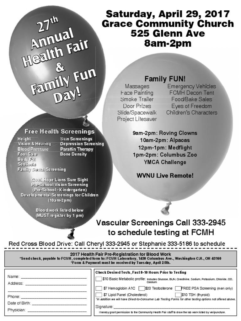Health Fair Flyer 2017   Medical Specialties   Clinical Medicine