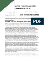 Wenonah Park News Announcement Ballot Initiative