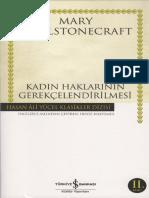 Mary Wollstonecraft-Kadın Haklarının Gerekçelendirilmesi-İş Bankası Kültür Yayınları (2012)