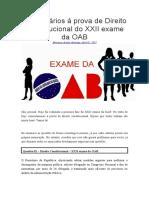Prova OAB - Comentários de Direito Constitucional Do XXII Exame Da OAB