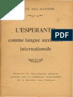 Société Des Nations - L'Espéranto Comme Langue Auxiliaire Internationale - Rapport 1922