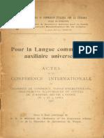 Pour La Langue Commerciale Auxiliaire Universelle - Actes de La Conférence Internationale - Venise - 1923
