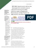 REBT 2002_ Hoja de Excel y PDF Normativa, Para El Cálculo de Seccion Cables Eléctricos Reglamento Electrotécnico de Baja Tensión