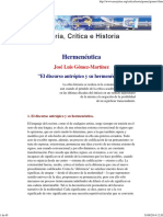 Gomez Martinez Jose Luis - Hermeneutica - El Discurso Antropico Y Su Hermeneutica
