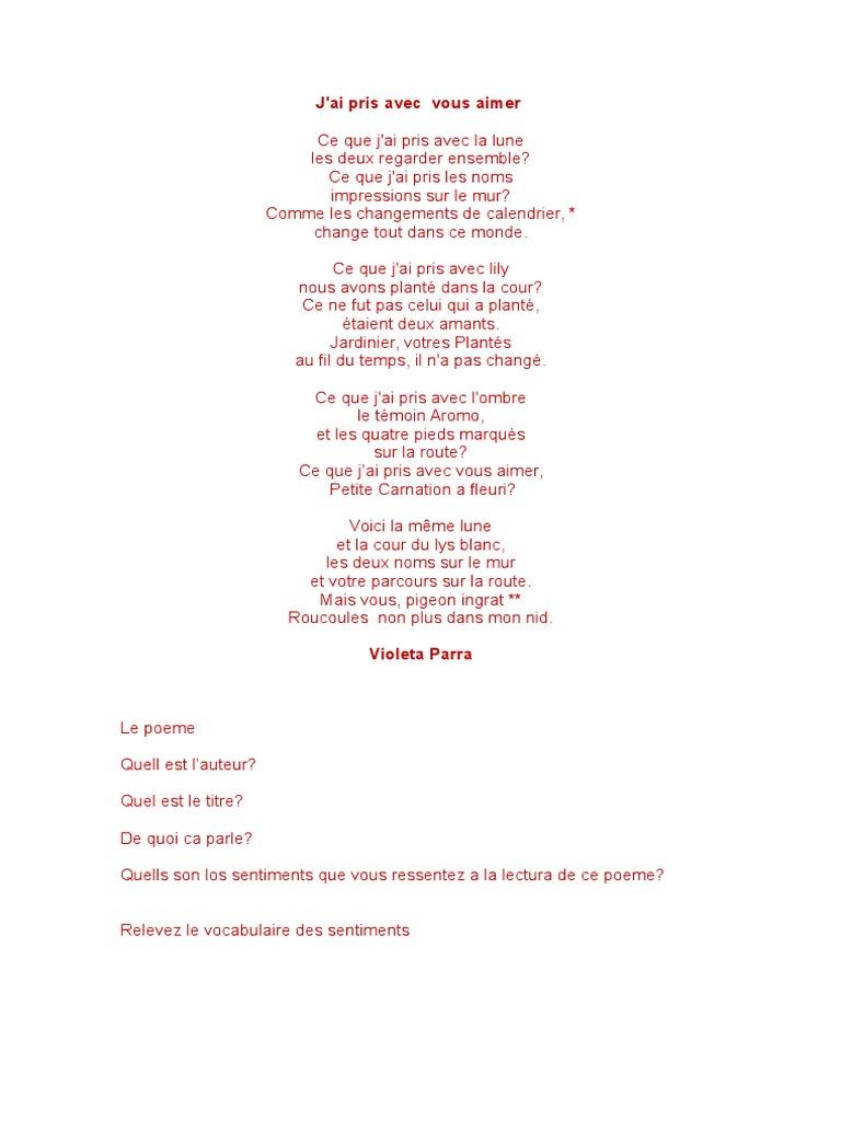Poema Violeta Parra Frances