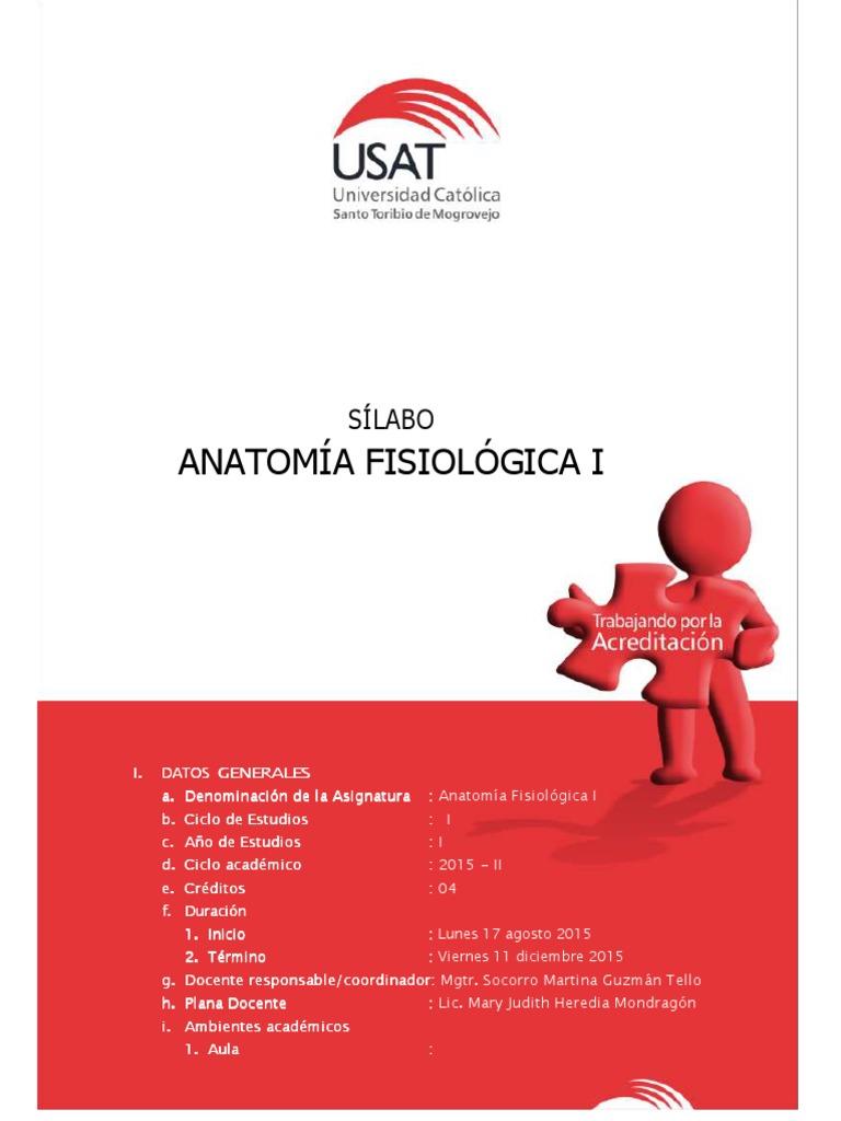 Anatomia Fisiologica i - Sílabo