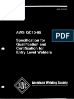 AWS QC 10-95 Spec 4 Qualification Certification Entry Level Welder