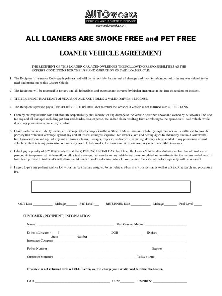 Loaner Vehicle Agreement Fee Insurance