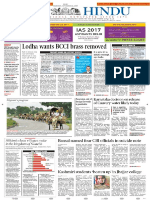 29-09-2016 - THE HINDU pdf | Supreme Court Of India