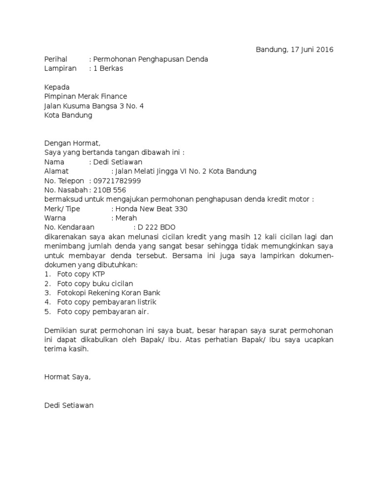 Contoh Surat Permohonan Penghapusan Denda Kredit 1
