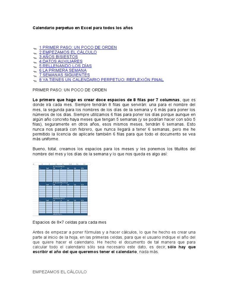 Calendario Perpetuo Semana Santa.Calendario Perpetuo En Excel Para Todos Los Anos Calendario Formula