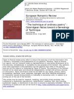 GEORGE 2007 Coleridge Genealogy of Technique
