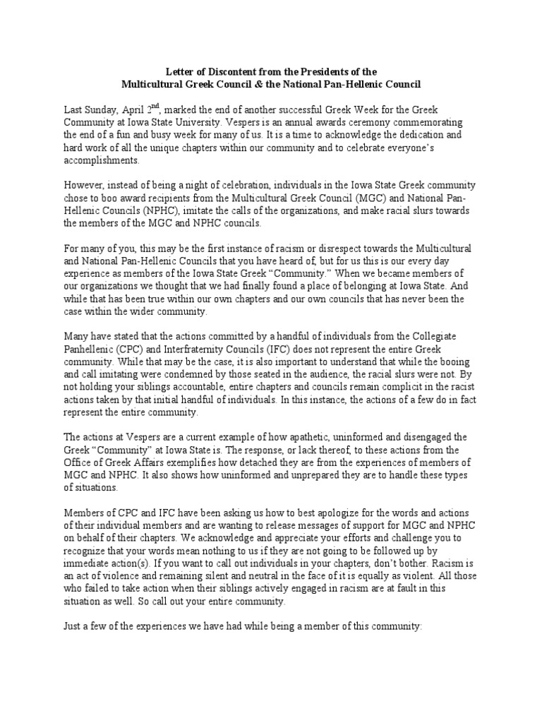 Joint letter from Iowa State University\'s Multicultural Greek ...