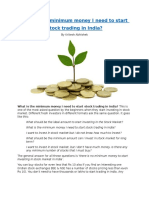 What is the minimum money I need to start  Stock trading in India?