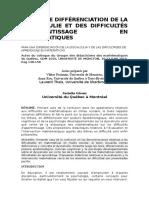 POR UNA DIFERENCIACION ENTRE LA DISCALCULIA Y LAS DIFICULTADES DE APRENDIZAJE (POSIBLE TRADUCCION)