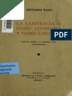 Antonio_Caso_La Existencia Como Economia y Como Caridad