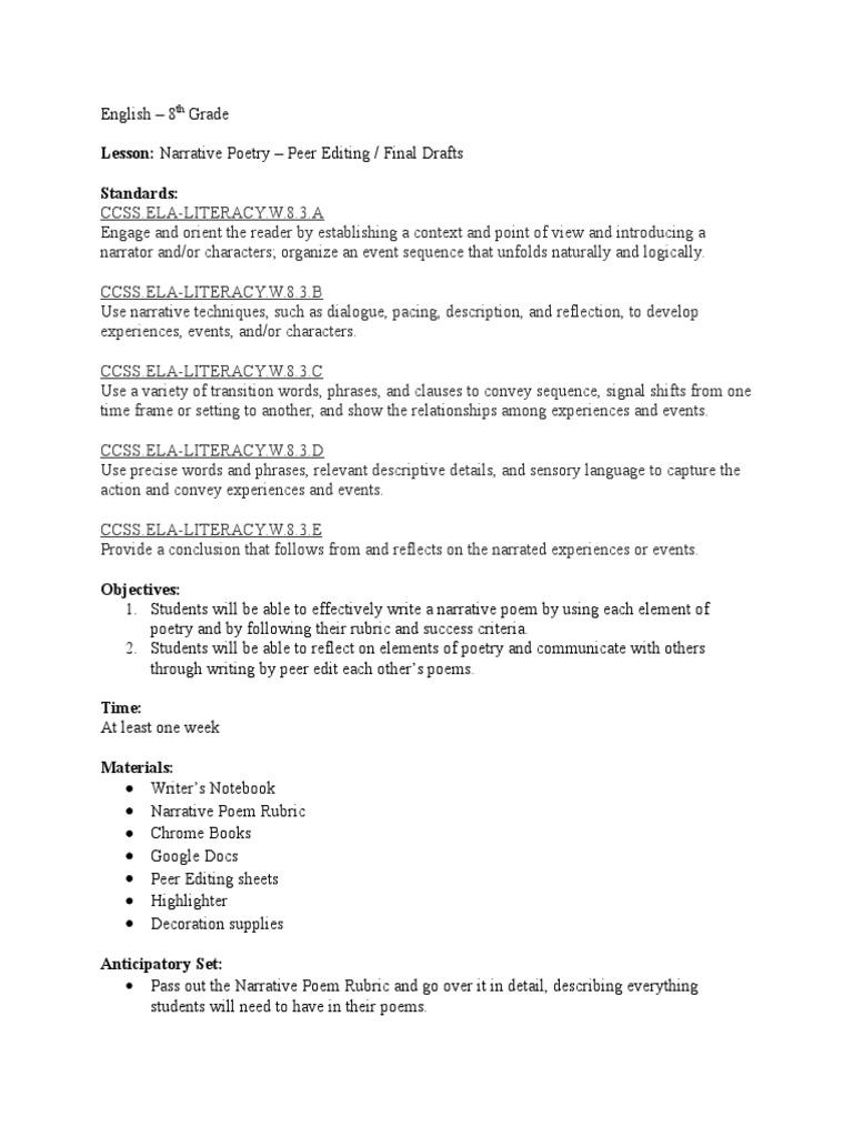 Narrative Poetry  PDF  Narrative  Rubric (Academic)