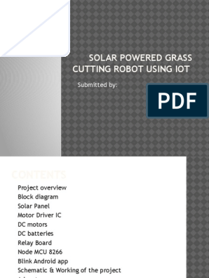 Solar Powered Grass Cutting Robot Using Iot   Magnetic Field