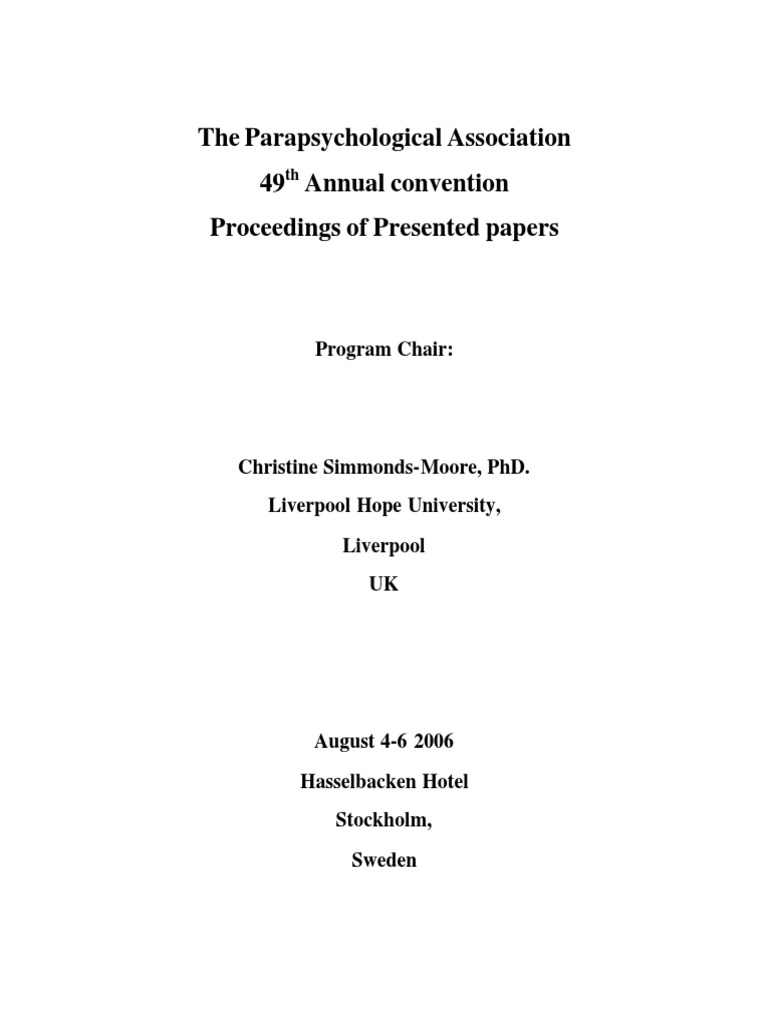 2006 Proceedings Of Presented Papers The Parapsychological Bent Diabolical Casio Ck 1 Circuit Association 49th Annual Convention Parapsychology Causality