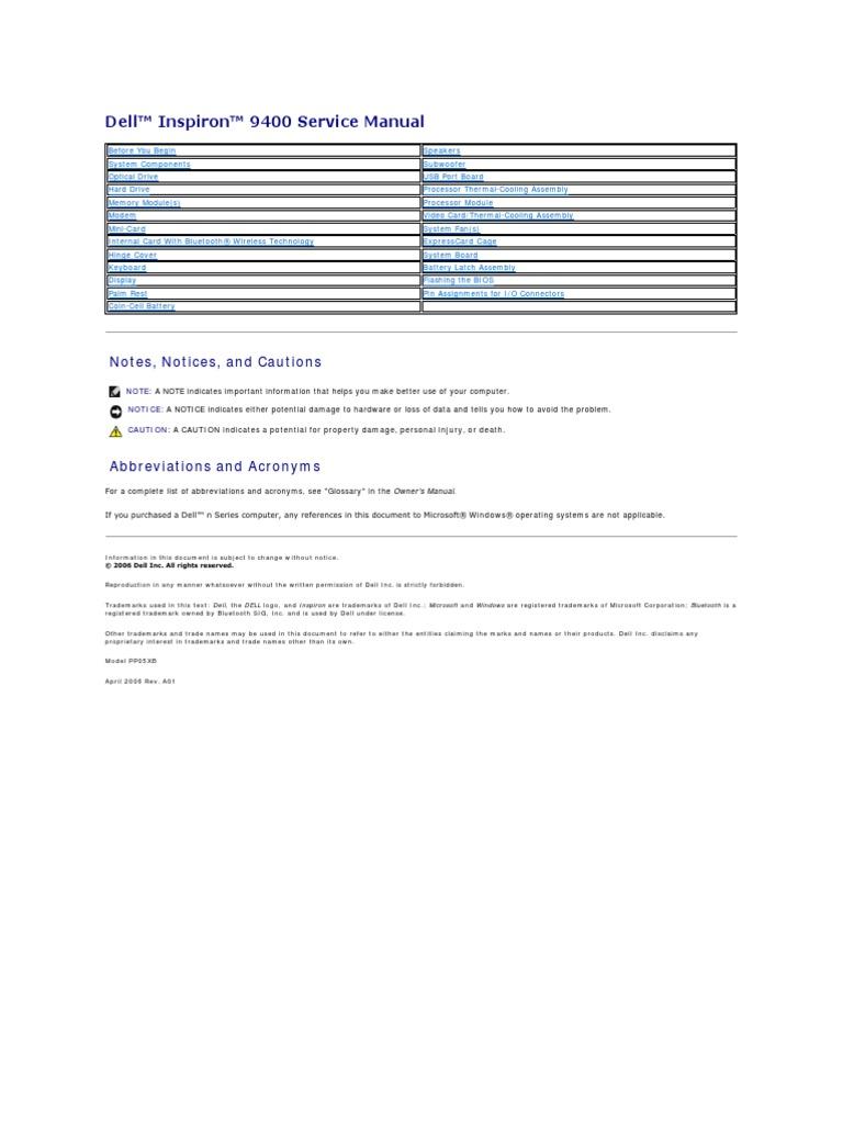 dell inspiron 9400 e1705 laptop service manual pdf pdf rh es scribd com Inspiron E1705 Battery XPS M1530
