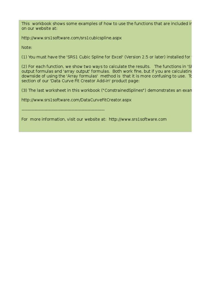 Srs1 Cubic Spline for Excel Example v25 | Interpolation ...