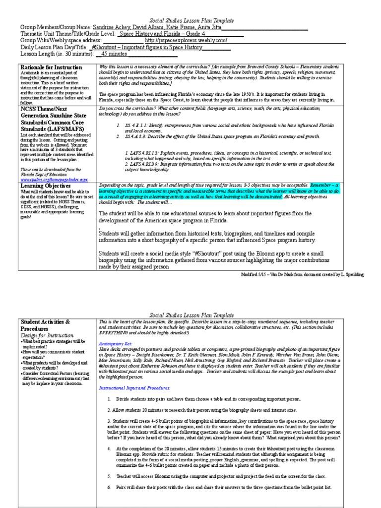 Thematic Unit Shout Out Lesson Plan Rough Draft Lesson Plan - Thematic lesson plan template