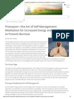 Pranayam—the Art of Self-Management_ Meditation for Increased Energy and Meditation to Prevent Burnout _ Kundalini