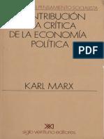 MARX - Contribución a La Crítica de La Economía Política