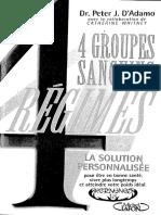 4 Groupes Sanguins - 4 Régimes
