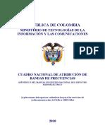 Cuadro Nacional Atribucion Bandas de Frecuencias 2010 Colombia