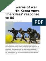 China Warns of War as North Korea Vows 'Merciless' Response to US