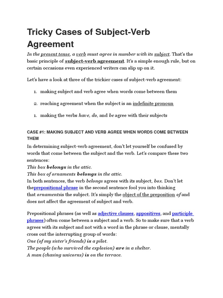 Tricky Cases Of Subject Verb Agreement Verb Subject Grammar