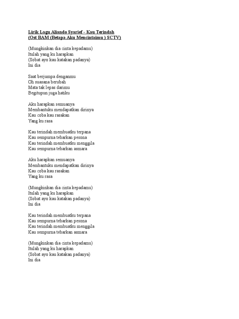 Lirik Lagu Aliando Syarief