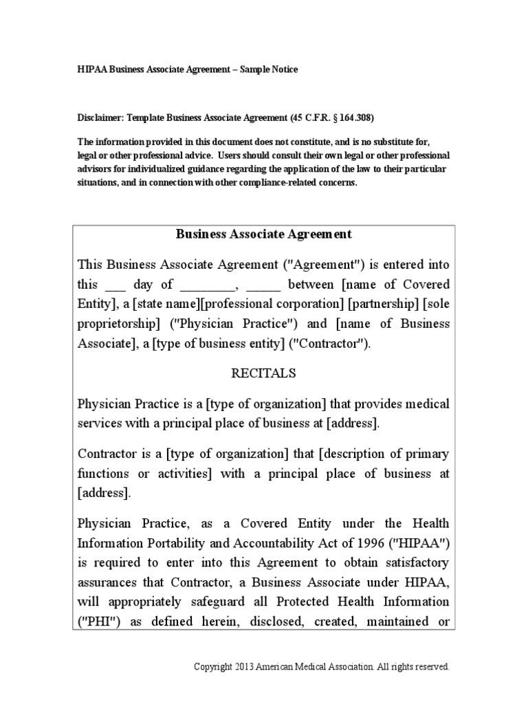 Hipaa Business Associate Agreement Health Insurance
