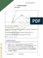 Cours Math - Chapitre 15 Géométrie Analytique - 2ème Sciences Mr Hamada