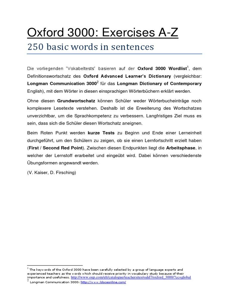Basic Vocabulary Exercises