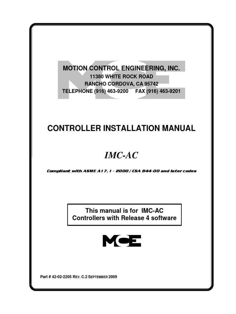 Imc Ac Rel 4 Asme 2000 42 02 2205 Rev C2 Elevator Air Kk2 1hc Wiring Diagram Conditioning