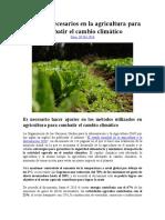 Cambios Necesarios en La Agricultura Para Combatir El Cambio Climático