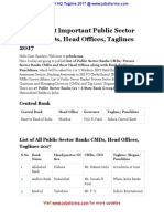 List of Public Sector Banks CMDs Head Offices Taglines 2017