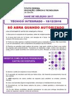 Prova Resolvida Tecnico Integrado 2017 1 Final