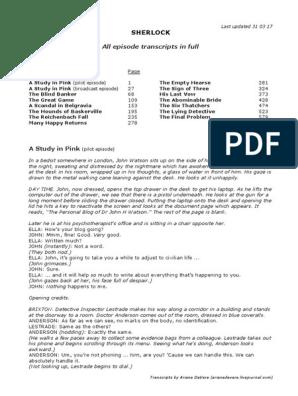 All episode transcripts - in full pdf | Minor Sherlock Holmes