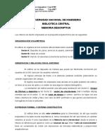 MEMORIA DESCRIPTIVA Especificaciones Tecnicas Uni 2009