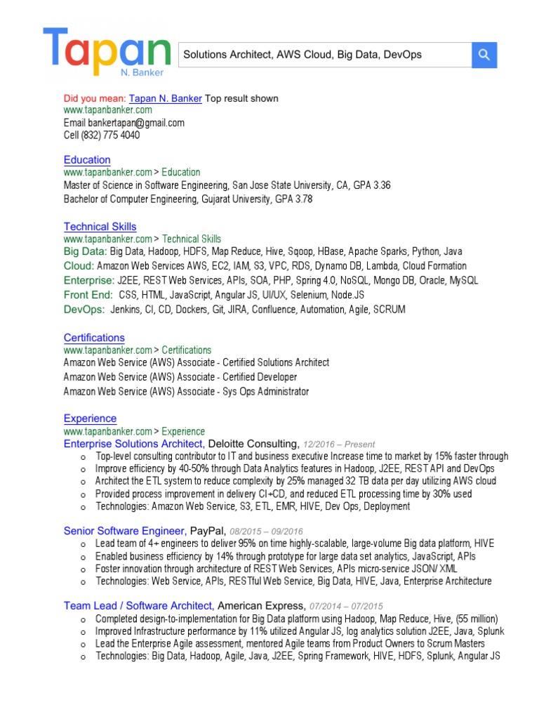 Tapan N Banker Resume tapanbanker.com | Apache Hadoop | Cloud Computing