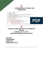 Carpeta Operativa Del Docente Por Semestre