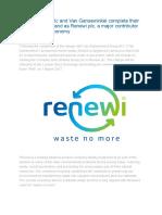 Shanks Group Plc and Van Gansewinkel Complete Their Merger and Rebrand as Renewi Plc
