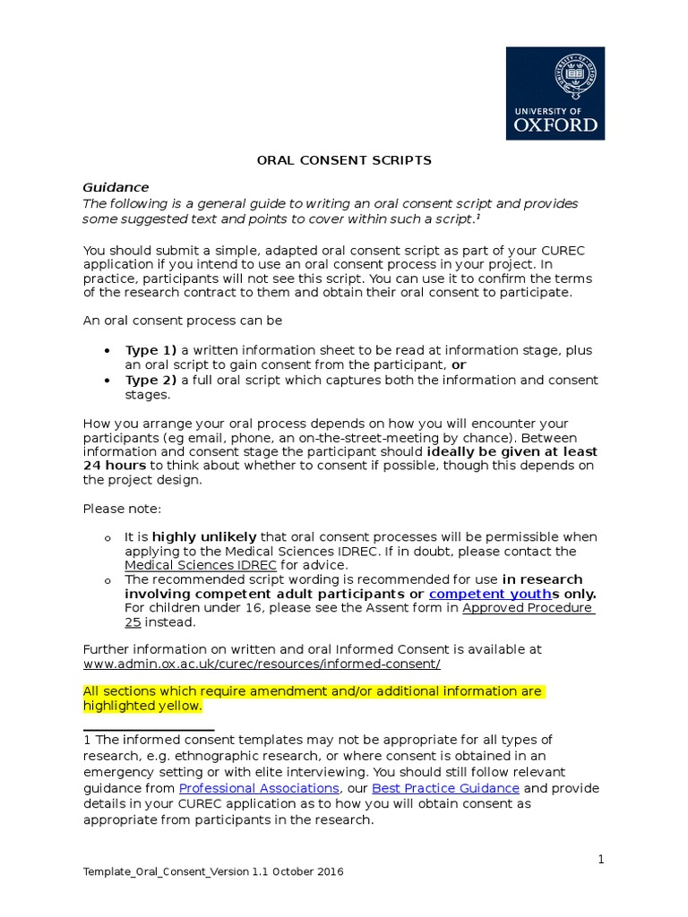 Template Oral Consent Consent Thesis - Informed consent process documentation template