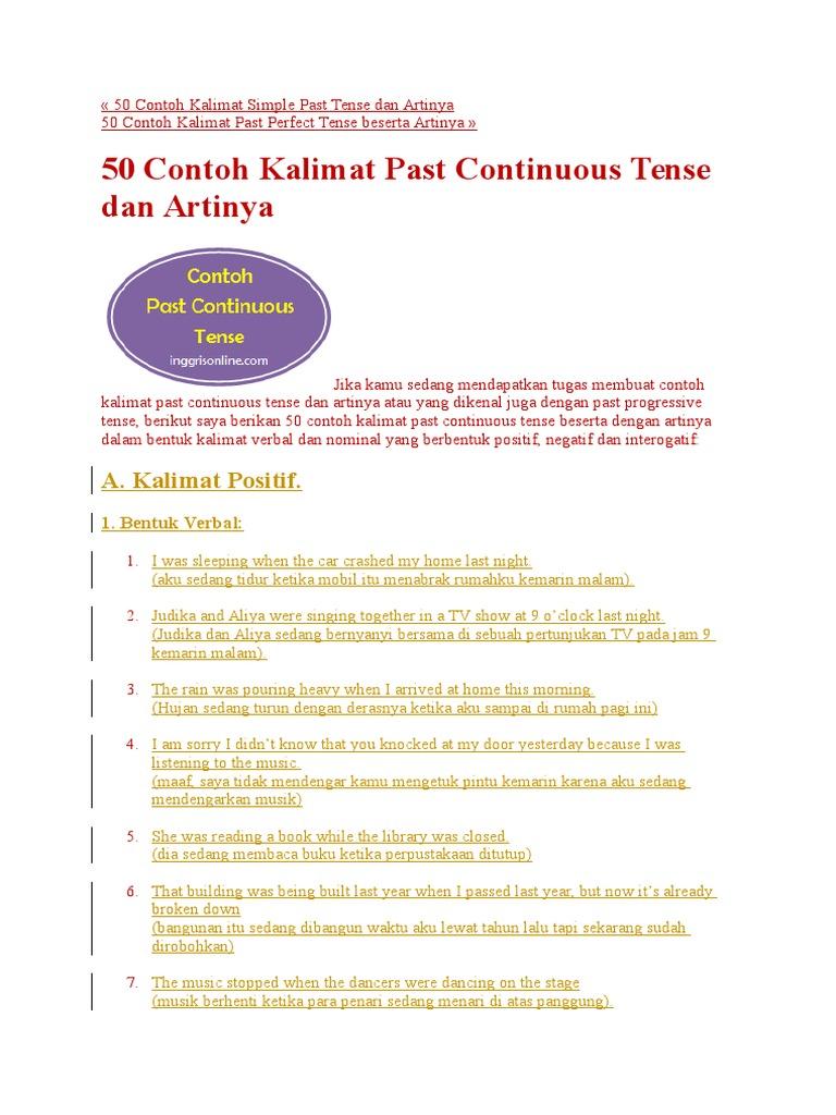 50 Contoh Kalimat Simple Past Tense Dan Artinya