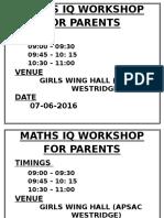 Maths Iq Workshop for Parents