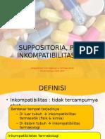 Suppositoria, Pil & Inkompatibilitasnya